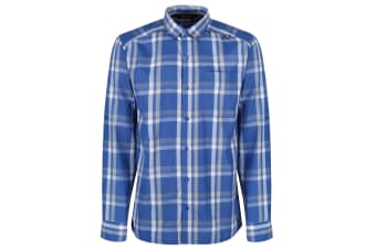 Regatta Mens Mindano Checked Long Sleeve Shirt (Oxford Blue)