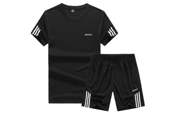 Men'S Casual Tracksuit T-Shirts And Shorts Running Jogging Sportsuit Set Black M