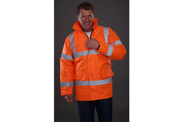 Grafters Unisex Safety Hi-Visibility Waterproof Motorway Jacket (Orange) (XL)