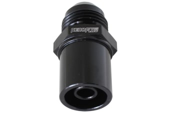 Aeroflow Push In Cover Breather Adapterto -8AN Black BA To FG Front