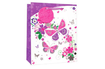 Simon Elvin Butterflies/Flowers Glitter Gift Bags (Pack of 6) (White/Pink/Purple) (Large)
