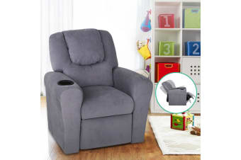 Artiss Kid Recliner Sofa Children Lounge Chair Padded Linen Fabric Armchair Grey