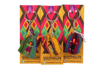 The Original Guatemalan Worry People Worry Doll Keyring (May Vary) (One Size)