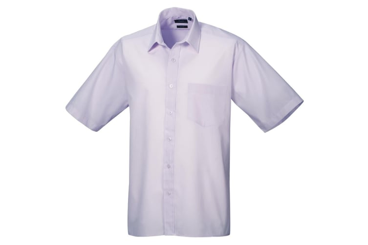 Premier Mens Short Sleeve Formal Poplin Plain Work Shirt (Lilac) (17.5)