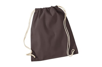 Westford Mill Cotton Gymsac Bag - 12 Litres (Chocolate) (One Size)