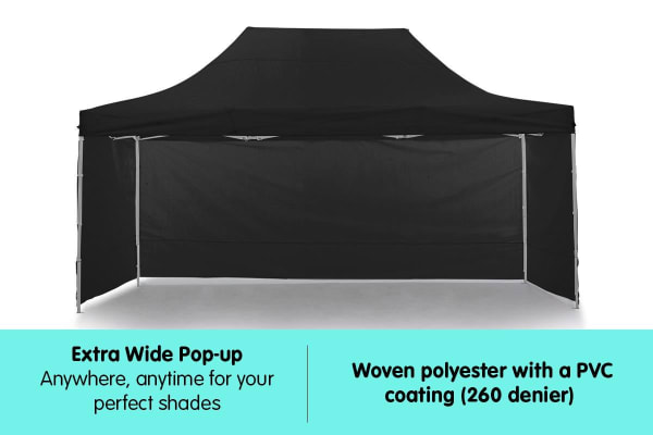 Gazebo Tent Marquee 3x4.5m PopUp Outdoor Wallaroo Black