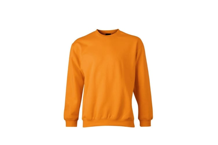 James and Nicholson Unisex Round Heavy Sweatshirt (Orange) (M)