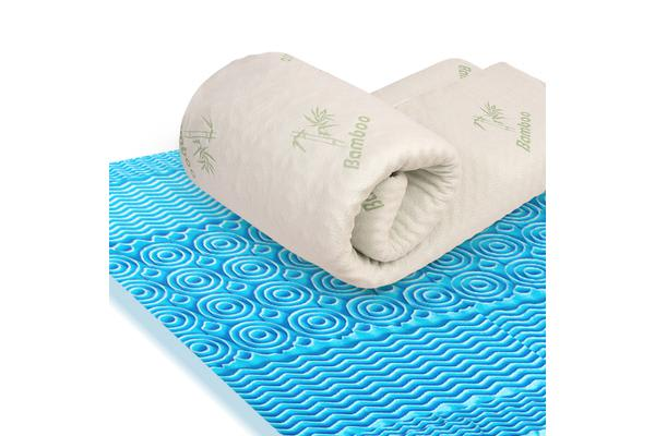 4cm Width Cool Gel Memory Foam Mattress Topper with Bamboo Fabric Cover Double Size