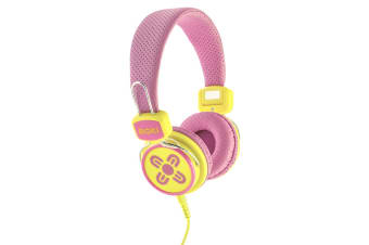 Moki Kids Safe Over Ear Headphones - Pink/Yellow (ACCHPKSPY)