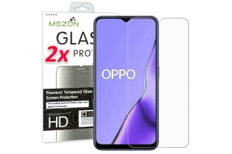 [2 Pack] OPPO A9 2020 Tempered Glass 9H HD Crystal Clear Premium Screen Protector by MEZON – Case Friendly, Shock Absorption (A9 2020, 9H)