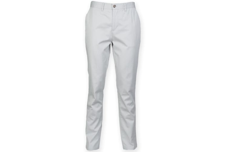 Front Row Mens Cotton Rich Stretch Chino Trousers (Light Grey) (34L)