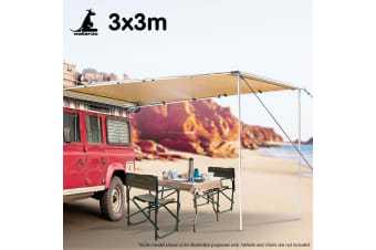 Wallaroo 3m x 3m Car Side Awning Roof Top Tent - Sand