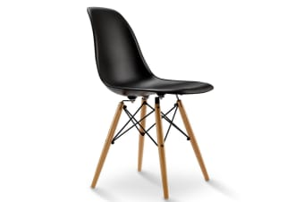 4 X Replica Eames Eiffel Dining Chairs Set DSW Cafe Kitchen Wood Retro Black