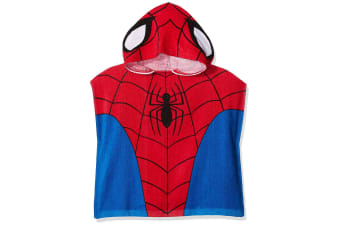 Spider-Man Childrens/Kids Towelling Poncho (Red/Blue) (One Size)