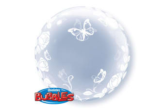 Qualatex 24 Inch Deco Bubble Balloon - Elegant Roses & Butterflies (Clear) (One Size)