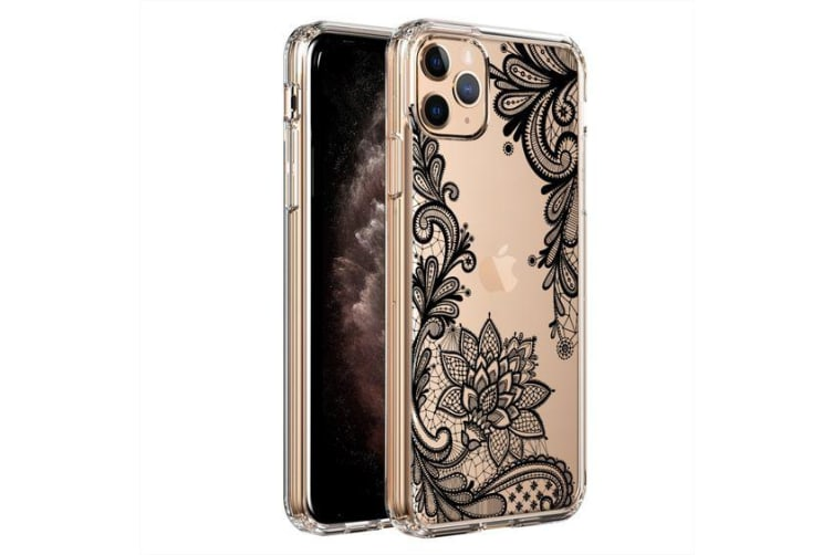 ZUSLAB iPhone 11 Pro Max Case Flower Flora Lace Style 4 Shock Absorption Rubber Bumper Protective Transparent Hard Back Clear Cover for Apple
