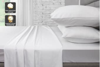 Ovela 1000TC 100% Egyptian Cotton Bed Sheet Set (King, White)