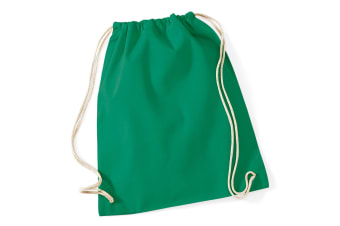 Westford Mill Cotton Gymsac Bag - 12 Litres (Kelly Green) (One Size)