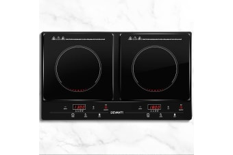 Devanti Induction Cooktop 60cm Electric Ceramic Cook Top Cooker Stove Hob Hot Plate Twin Cooking Burners Touch Control Kitchen Benchtop Portable
