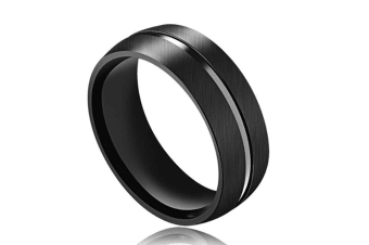 8mm Creative Black Titanium Steel Mens Fashion Wedding Band Ring 7