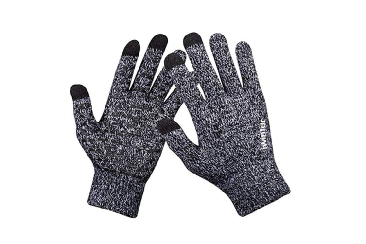 Winter Touch Screen Thermal Knit Gloves Men Women For Smart Phone Black White