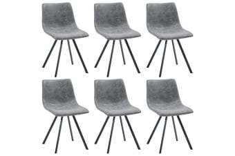 vidaXL Dining Chairs 6 pcs Grey Faux Leather