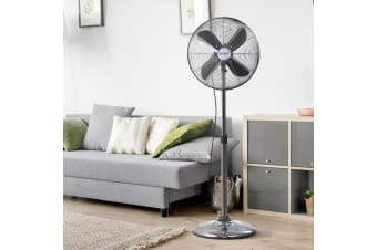 Devanti Pedestal Fan Metal Portable Fans 3 Speed Oscillating Tilt Chrome Vintage