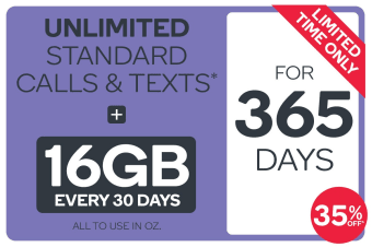 Kogan Mobile Prepaid Voucher Code: LARGE (365 Days | 16GB Per 30 Days) - 35% Off