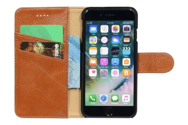 For iPhone 8 7 Wallet Case Fashion Cowhide Durable Genuine Leather Cover Brown