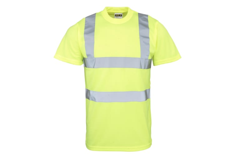 RTY High Visibility Mens High Vis T-Shirt (Pack of 2) (Fluorescent Yellow) (L)