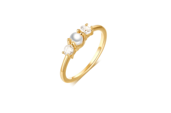 Delicate Zircon-Inlaid Female Imitation Ring Gold Size-8