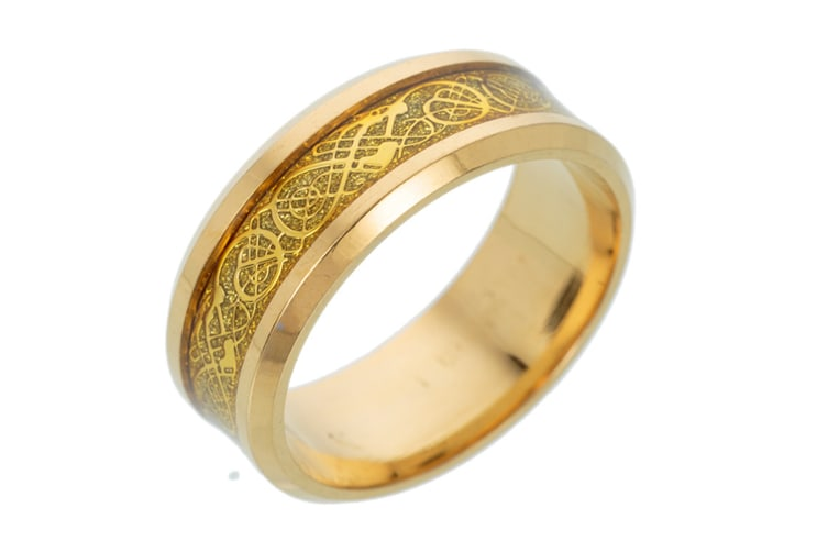 Dragon Scale Dragon Pattern Beveled Edges Celtic Rings Jewelry Wedding Band for Men 13