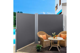 2MX6M Retractable Double Side Awning Privacy Screen Shade Grey