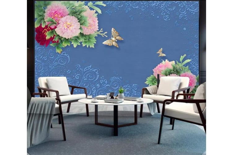 3D Color Flower Butterfly 246 Wall Murals Self-adhesive Vinyl, XXL 312cm x 219cm (WxH)(123''x87'')