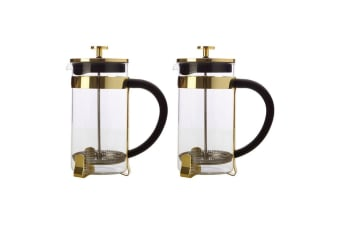 2PK Maxwell & Williams Blend 1L Coffee Plunger Press Glass Stainless Steel Gold
