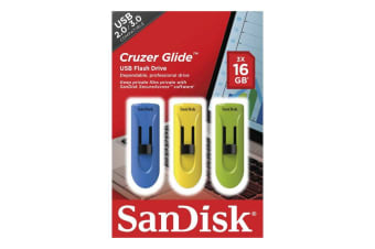 Sandisk Cruzer Glide CZ60 16GB USB Flash Drive - 3 Pack