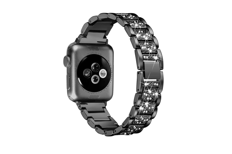 Select Mall Fashion Three Beads Shiny Strap Stainless Steel Rust Steel Strap for Apple Watch5 4 3 2 1-Black 44mm