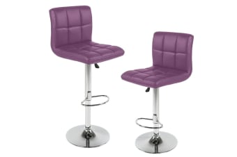 2x PU Leather Swivel Bar stool Kitchen Dining Chair Gas Lift Adjustable Purple