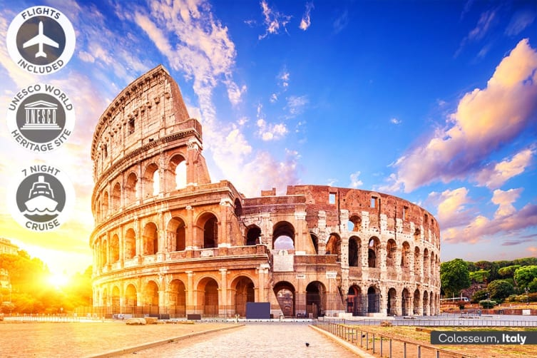 EUROPE: 19 Day Italy Escape and Mediterranean Cruise Including Flights for Two (Inside Cabin)