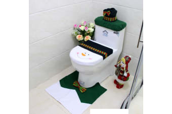 4pcs Christmas Toilet Seat Cover Rug Bathroom Set Santa Snowman Xmas Home Décor - Snowman B