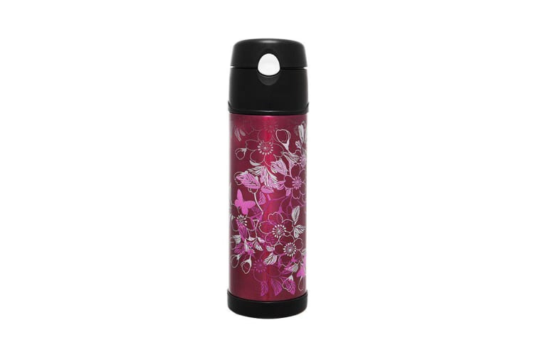 Thermos Stainless Steel Vacuum Insulated Hydration Bottle 530ml Floral Magenta