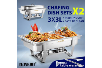 2 Sets Chafing Dishes Stainless Steel Food Warmer Buffet Set
