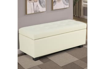 Large Ottoman Faux Leather Storage Box Footstool Chest - Beige