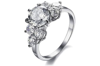 Magnificent Accented Crystal Ring Made With Crystal Elements-White Gold/Clear Size US 8