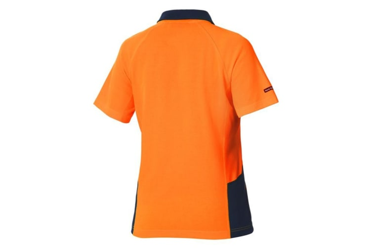Hard Yakka Women's Koolgear Hi-Vis Short Sleeve Polo (Orange/Dark Navy, Size L)