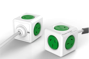 Allocacoc PowerCube 1 5m with 5 Power Outlets - Green (5300/AUEXPCGRN)