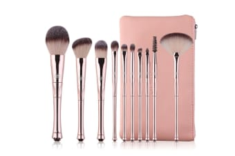 11Pcs Crown Handle Cosmetic Brushes Professional Portable Cosmetic Brushes - Pink