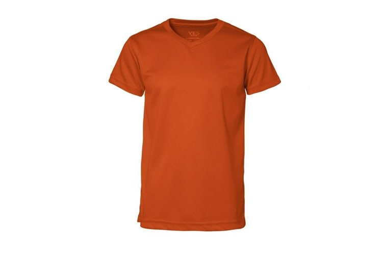 ID Childrens/Kids Yes Active Fitted Short Sleeve V-Neck T-Shirt (Orange) (8/10)