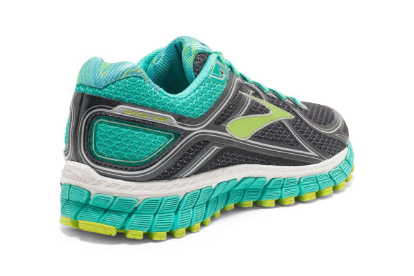 Brooks Women's Adrenaline GTS 16 (Anthracite/Aqua Green/Lime, Size 9)