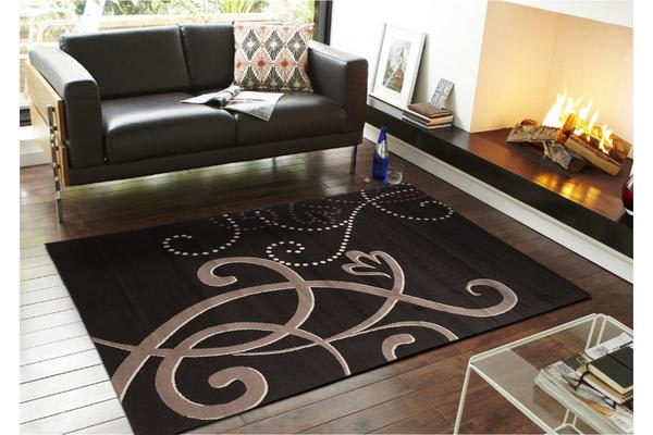 Art Deco Rug Black Grey Cream Purple 280x190cm